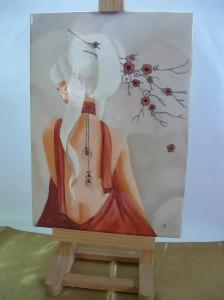 Geisha sur Plaque Porcelaine . 302 x 212