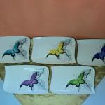 Papillons sur assiettes rectangulaires. Différentes couleurs. 285 x 180