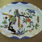 Plat ovale. Deux oiseaux Style vieux Rouen. 345 x 250