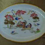 """Chinoiserie """"La mare au canards"""" dans un plat ovale"""